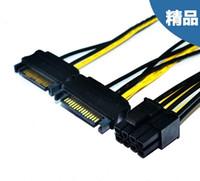 tarjeta de visualización pci al por mayor-Venta al por mayor - Dual 15Pin SATA macho a PCI-E PCIe PCI Express tarjeta de visualización de vídeo de gráficos 8Pin macho fuente de alimentación Cable CABLE 18AWG PC de alambre DIY