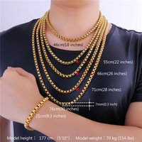 Wholesale tin plated copper - U7 7MM 5 Sizes 18K Gold Plated Box Chains Classical Necklace for Men Women Fashion Jewelry Perfect Accessories Gift Men Jewelry GN2337