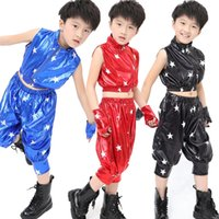 Wholesale hip hop dance costumes clothes - Children's Stage Dance Performance Tops+Pants Girls Jazz Modern Dancing Costumes Boys Kids hip hop Sequined dance Clothing Set Outfits