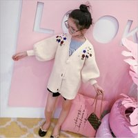 Wholesale 2017 Korean Style Autumn Baby Girls Cloth Kids Girl s Outwear Coat Children Long Sleeve Fashion Coat Knitted Flowers Caot B