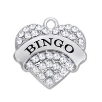 Wholesale Bingo Charms - Bingo Crystal heart Charms Pendant Mixed Crystal Heart Love men DIY Jewelry Rhodium Plated Fashion Findings Components hot sell