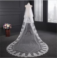 Wholesale Bridal Veils Ivory Two Tier - Romantic Lace Edge 3M Bridal Veils Luxury Long Applique Two Tiers With Free Comb Custom Made Wedding Veils Chapel Ivory White