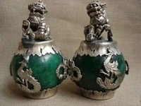 ingrosso pair draghi cinesi-COPPIA CINESE DEL Tibet SILVER DRAGON JADE Foo dog STATUE3