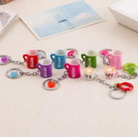 Wholesale Coffee Cup Key - Brand new Creative Cute Cup Keychain Resin Coffee Cup Car Key Pendant Metal Key Ring KR118 Keychains mix order 20 pieces a lot
