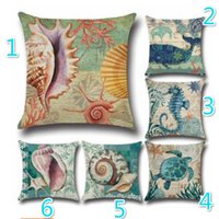 Wholesale Sea Horse Pillows - 18 Styles Star Fish Cushion Cover Ocean Red Coral Sea Horse Retro Style Marine Shell Pillow Covers Bedroom Sofa Decoration