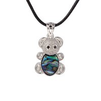 Wholesale Pearl Bear Rhinestones - Fashion Abalone Cartoon Bear Shell Rhinestone Pendant Brass Buckle Black Korea Wax Necklace For Children Gifts