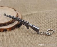 Wholesale Ak Model - AK47 Model Keychain Cross Fire CF Metal Pendant Key Chain Automatic Rifle ak 47 Figure Jewelry Men Toy Accessories Keyring free ship