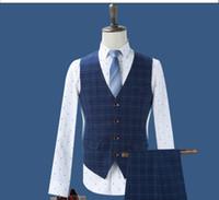 Wholesale Youth Dress Suits - Wholesale- 2017 new male youth business casual suit vest blue Plaid Dress Vest slim male jacket