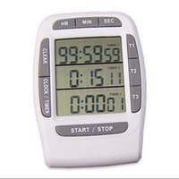 Wholesale Electronics 99 - by DHL or EMS 50 pcs Digital LCD Multi-Channel Timer CountDown Laboratory 3 Channel Timers 99 Hours