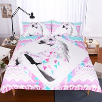 3pcs Hot Sale Geometric Unicorn Design Active Printing Alta qualidade Home Textiles Polyester Bedding Set (Tamanho: Twin Queen King)