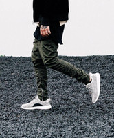 Wholesale Justin Bieber Pants Trouser - Justin bieber brand style side zipper men slim fit casual mens hip hop jogger biker pants swag sweatpants skinny trousers olive