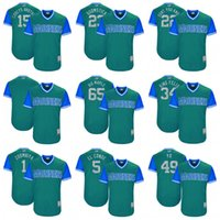 t 49 achat en gros de-2017 Seattle Mariners 15 Corey's Brother 23 Boomstick 22 Vous ne savez pas 65 Big Maple 34 King Felix 1 Zoombiya 49 Yo Baseball Baseball Maillots