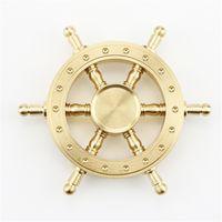 Wholesale Big Rotating Wheels - Pure Brass EDC Helmsman Fidget Spinner Hexagonal Rotating Metal Hand Spinner Finger toys Steering Wheel Decompression Toy