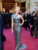 oscar payet elbise toptan satış-Naomi watts kırmızı halı 85th oscar kılıf sequins lüks ünlü gelinlik payetler mermaid uzun gece elbisesi