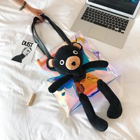 Wholesale Teddy Bear Handbags - New arrival!wholesale teddy bear large shoulder bag famous brand leather handbags women girls fashion jelly shopping bags