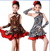 Crianças Crianças Kid Girls Latin Dancewear Competition Dancing Leopard Zebra Dress Dance Costume Child Latin Dance Dress For Girls