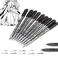 arte de la pluma de tinta al por mayor-Pigma Micron Plugs 9 Surtido de tamaños de plumillas Micro-Line Ultra Fine Point Plumas de tinta Permanent Art Markers Manga Comic Sketching Drawing Brush Set