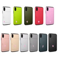 Wholesale Plastic Id Cover - Case For Iphone 8 8G ID Card Slots Wallet Card Pocket Armor Hard Plastic+Soft TPU Card Box Slot Shockproof Hybrid Skin Luxury Fashion Cover