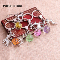 Wholesale glass reindeer - 2 pcs lot Metal KeyChain Crystal Glass Ball Dried Flower Pendant Reindeer Charm Key Ring Jewelry Diy C0498