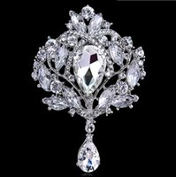 Wholesale Wholesale Silver Broach - Big Crystal Waterdrop Top Quality Silver Tone Drop Brooch Pin Exquisite Diamante Wedding Jewelry Brooch Large Crystal Women Bridal Broach