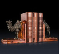 Wholesale Vintage Book Ends - Vintage CRAFTS ARTS Bronze sculptures camel Copper bookshelf collectible book ends Study Room Decoration