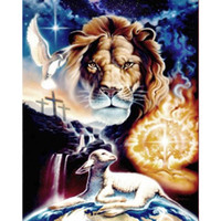 Wholesale Sheep Wall Decor - Sheep Lion DIY Diamond Painting Embroidery 5D Cross Stitch Crystal Square Home Bedroom Wall Art Decoration Decor Craft Gift