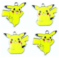 Wholesale Pikachu Party - wholesale Free shipping New 50pcs Yeloow Pikachu Poke Metal Charm Pendants Jewelry Making Party Gifts