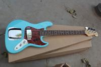 Wholesale Sky Blue Guitar - Free shipping High Quality Custom body mahogany body 4 string FD Signature Sky blue Jazz Bass guitar