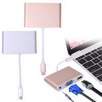 3 in 1 Typ C zu HDMI VGA 3.5mm Audio Adapter Konverter USB 3.1 USB-C für Laptop Macbook Google Chromebook Pixel Monitor