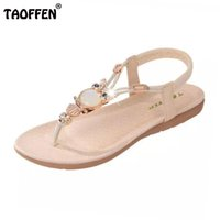Wholesale Wholesale High Heel Beaded Shoes - TAOFFEN bohemian beaded women flat sandals clip toe brand quality sexy sandals fashion ladies shoes size 36-42 WA0062