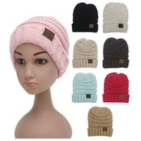 Wholesale hat wool kids - 8 Colors Baby CC Beanies Kids Knitted CC Hats Children Winter Warm Hats Kids Wool Knitted Caps Outdoor Sports Casual Beanies CCA7843 300pcs