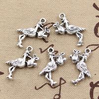 Wholesale Vintage Baby Silver Charms - Wholesale-99Cents 8pcs Charms stork baby bird 23*18mm Antique Making pendant fit,Vintage Tibetan Silver,DIY bracelet necklace