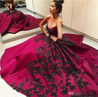 Wholesale Pink Princess Apple - Hot Selling New Black Applique Fushia Long Prom Dresses Sweep Train Ball Gown Satin V-Neck Princess Formal Evening Gowns Custom Made PR114