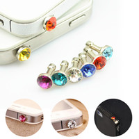 Wholesale Crystal Anti Dust Plugs - Universal 3.5mm Crystal Diamond Anti Dust Plug Dustproof Earphone Jack For Iphone 5 6s 6s plus Smartphone