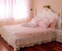 Wholesale Polka Dot Full Comforter Set - fashion 100%cotton princess lace pink polka dot girl twin queen king bedskirt bedclothes duvet cover set bedding set