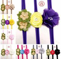 Wholesale Soft Nylon Chiffon - 3pcs set Newborn flower headband infant girls skinny soft nylon headband satin chiffon flower headwear Baby Hair Accessories