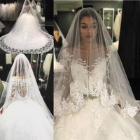 Wholesale White N Pink Wedding Gowns - 2017 The n Luxury Lace Appliques Crystal Tulle Ball Gown Wedding Dresses Long Sleeves Sheer Scoop Button Back Sweep Train Puffy Bridal Gowns