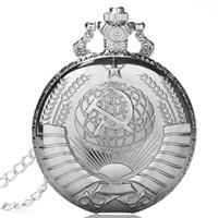 lembrança de abertura venda por atacado-RÚSSIA MOSCOU Soviética Homens Lembrança relógio de bolso de quartzo steampunk com corrente aberta enfrentou Capa Estilo Exército Presente Pingente POR DHL