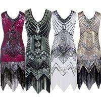 Wholesale Plus Size Latin Dresses - Women Dresses Summer Vintage Costume Dress Women Tassel Gatsby Charleston Sequin Party Latin Dance Dress Plus Size