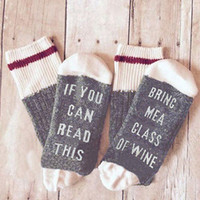Wholesale Mens Reading Glasses - Wholesale- If You can read this Bring Me a Glass of Wine Womens Mens Winter Spring Cotton Warm Socks