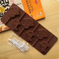 Wholesale Silicone Monkey Mould - Cake Tools, Cookie, Jelly, Ice Mold 1PCS Food Grade Silicone Material Monkey Shape For Chocolate Lollipop Mold