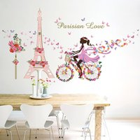 QT 0223 DIY Mural Flower Fairy Girl Cycling Lron Tower Stickers Waterproof  Bedroom Background Wall Art Home Decor Wall Sticker