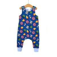 Wholesale Baby Joggers - Baby Boys Sleeveless Rompers Character Printed Blue O-neck Jogger Pants Ankle Banded Summer Invisible Zipper Infant Toddler Kids Jumpsuits