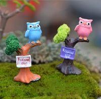 Wholesale Cabochon Resin Tree - 1Pc Mini Tree Branch Owl Resin Cabochon Craft Micro Landscape Miniature Fairy Garden Gnome Ornament Terrarium Figurines Decor