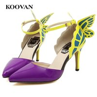 Wholesale Three Point Buckle - Koovan Fashion Women Pumps New Summer 8.5 Cm High Heel Butterfly Pattern Women Sandals Shallow Mouth Pointed Toe Three Color W030