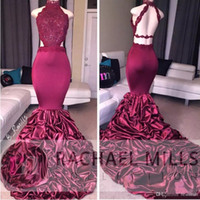 Wholesale Sexy Silk Gowns - Burgundy Mermaid Long Prom Dresses 2017 African Lace Appliqued Sleeveless Open Back Sequins Ruffled Sweep Train Evening Party Gowns