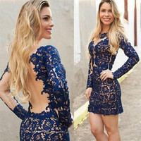 Wholesale Plunge Mini Dress - 2017 Custom Made A Line Long Sleeves Cocktail Party Dresses Navy Blue Lace Applique Plunging Homecoming Gowns Short Mini Prom Dresses