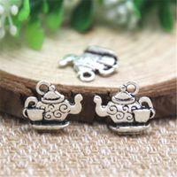 teekannen teetassen großhandel-20pcs - Teekanne Charms, antike tibetische Silber Teekanne Charms mit kleinen Teetasse Charms Anhänger 15 x 13 mm