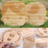 Wholesale Girls Wooden Box - Kids Tooth Box Organizer Baby Save Milk Teeth Wood Storage Box For Boy Girl Wooden Box