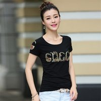 Wholesale Drill Shirts - Wholesale-2016 New Fashion Summer Women T-shirt Letter Printed Hot Drilling T-shirts Women Short Sleeve tshirts Female Harajuku Tops 60789